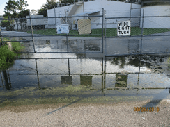 Flooding in front of the water plant.