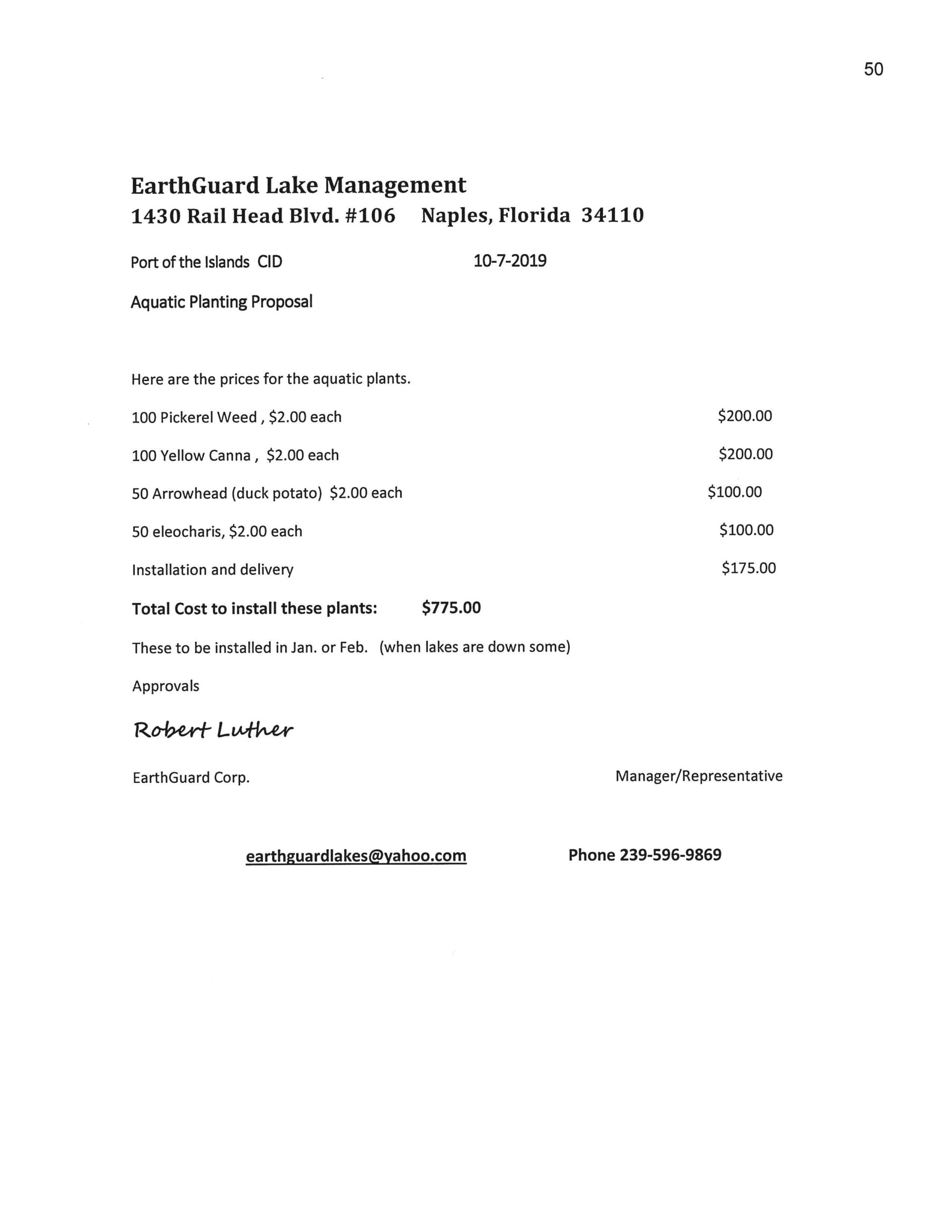 Earthguard proposal for planting aquatics 10-7-2019