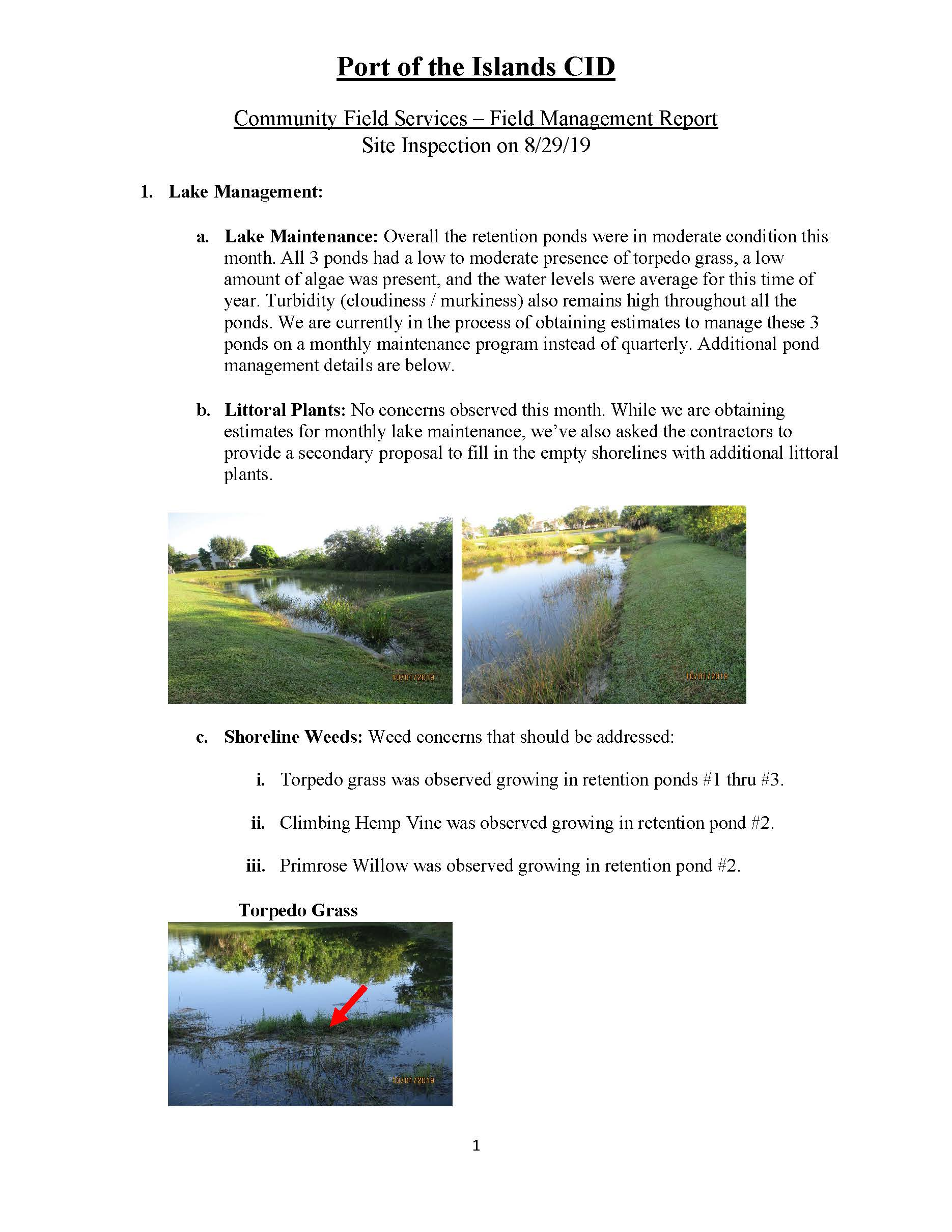 Field Report Page 2 October 2019