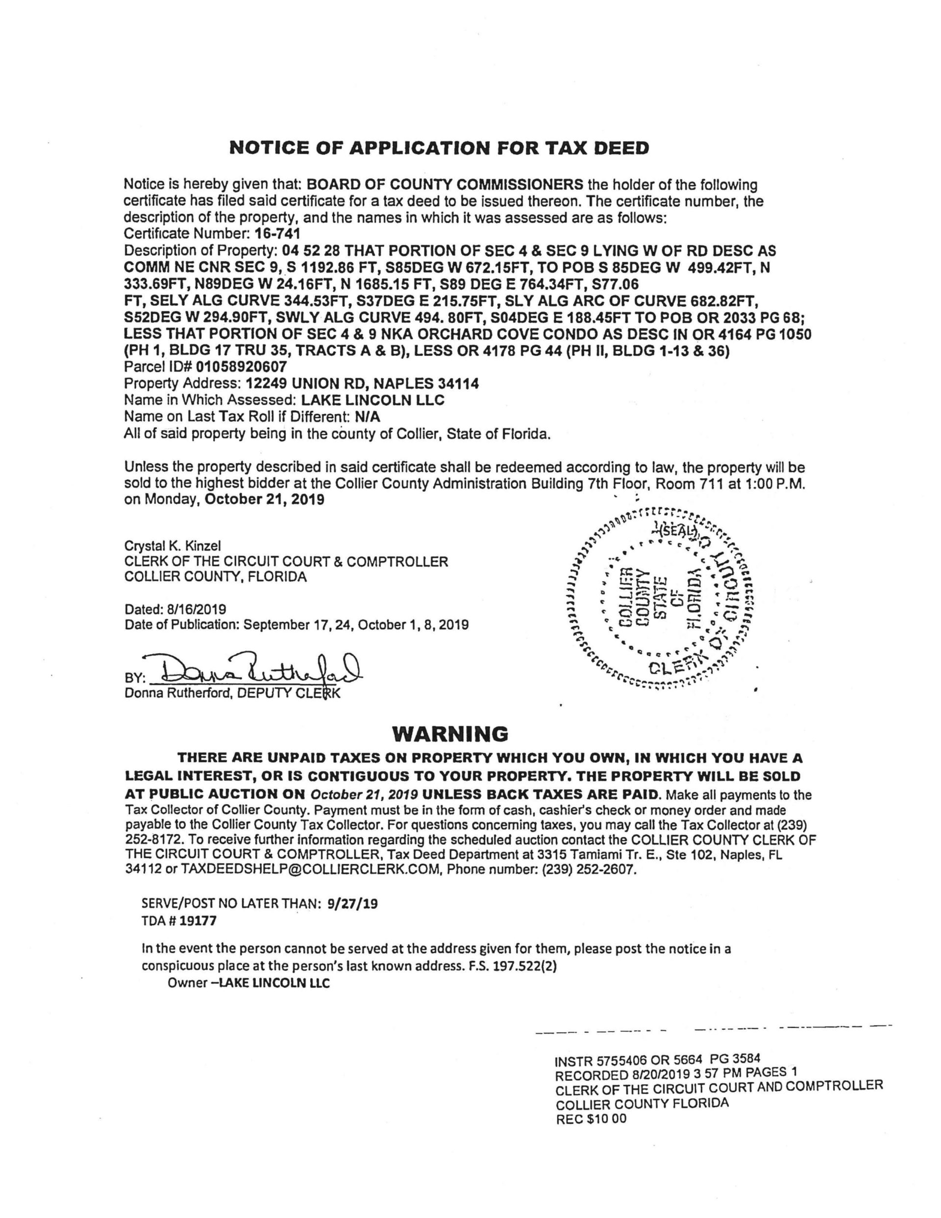 12249 Union Road Tax Deed Application page 1