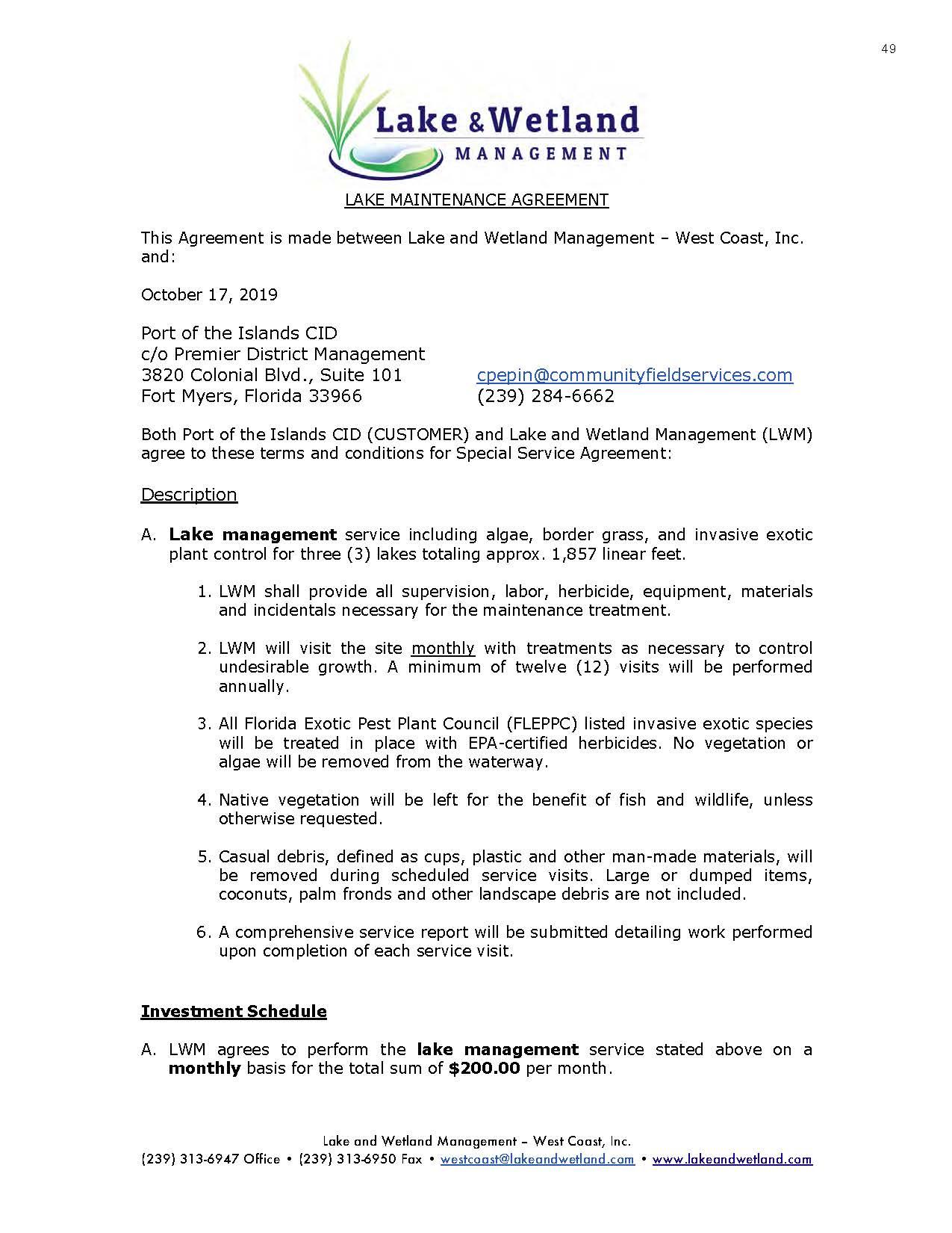 Lake & Wetlands Management Lake Maintenance Agreement