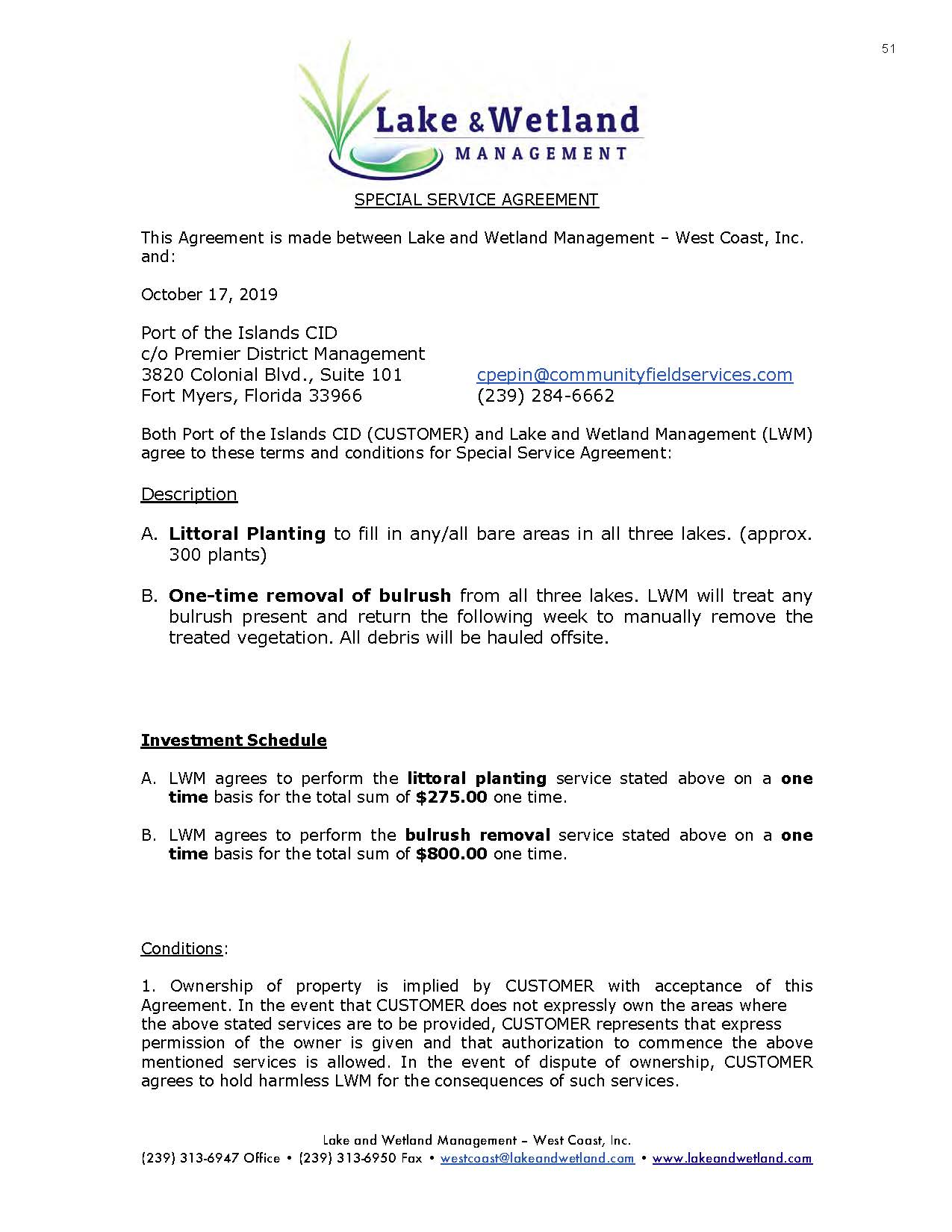 Lake & Wetlands Management Special Service Agreement