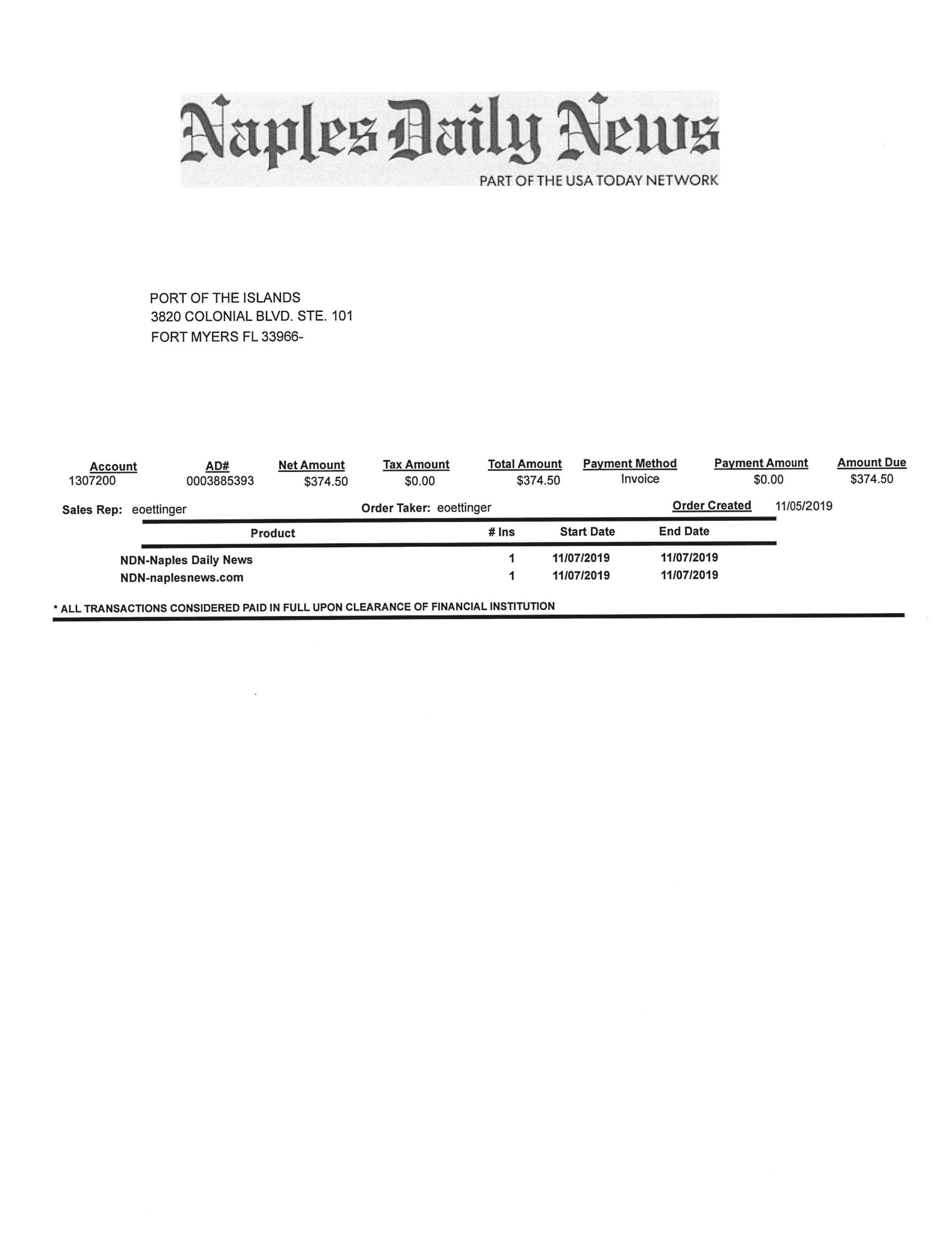 Naples Daily News receipt for Port of the Islands notice of closed session